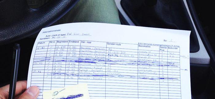 Rittenregistratie bij houden op papier